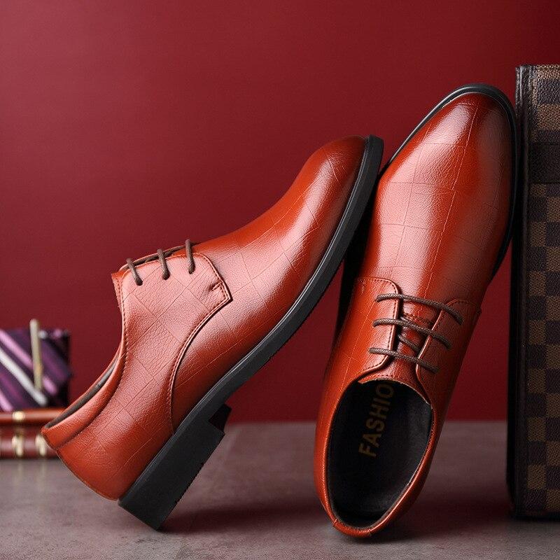 Mariage D'affaires Noir Marié Aa60520 De Chaussures brown Oxford Pointu Bout Formelle Cuir Hommes Luxe Mode En Lacets Robe aqnx5nB6w