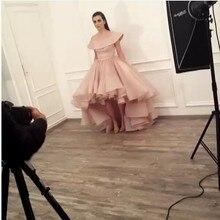 High Low Ballkleid Abendkleid Lange 2017 Weg Von Der schulter Arabisch Dubai Kaftan Pinsel Zug Avondjurk Rosa Türkischen Abend kleider