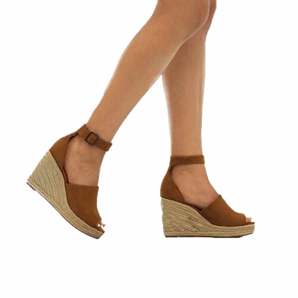 נשים טריזי סנדלים מזדמנים פשתן בד טריז פלטפורמת אבזם קרסול רצועה גבוהה העקב פלטפורמת משאבת נעלי בד גבירותיי נעלי 12.5
