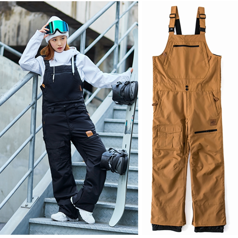 New 2018 unsex bib pant for ski snowboarding waterproof overalls windproof snow pants Thermal warm men vintagework clothes 30
