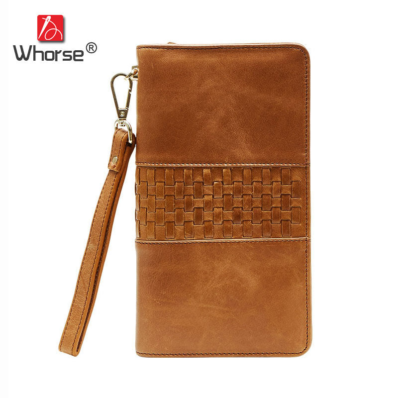 [WHORSE] Vintage Casual Genuine Leather Long Zipper Men Wallet Knitting Square Real Cowhide Mens Wallets Clutch Bag Purse W9321 long wallets for business men luxurious 100% cowhide genuine leather vintage fashion zipper men clutch purses 2017 new arrivals