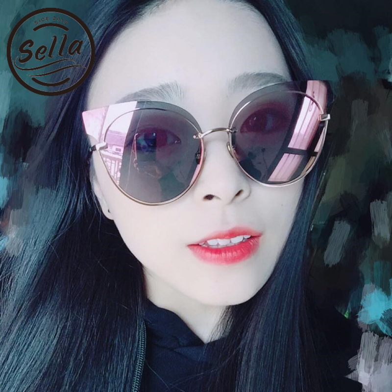 2018 Sella New Fashion Women Cateye Sunglasses Popular Ladies Oversized Colorful Tint Lens Rimless Sun Glasses Brand Designer