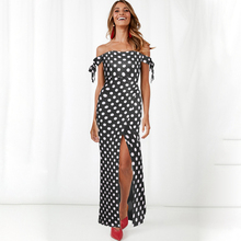 2019 summer explosion models sexy waist European style polka dot dress long word shoulder