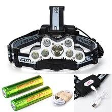 Светодиодный налобный фонарь 9X, 45000 люмен, 6 режимов, водонепроницаемый, 18650, аккумулятор, USB кабель