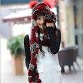 2016 новых Женщин зима кролика рекс меховая шапка вязаная Подлинная рекс кролик меховая Шапка шарф один кусок теплой ухо бомбардировщик крышка с карман