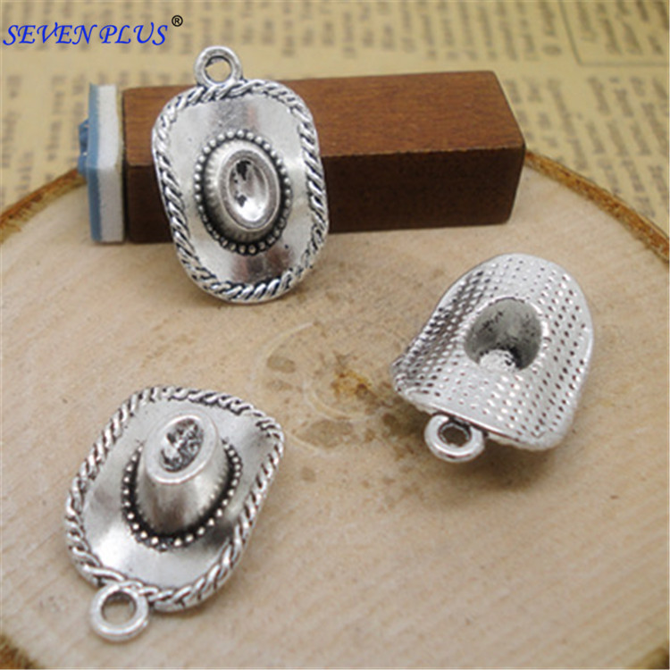 Silver-Plated Charms Cowboy-Hat Jewelry-Making Dallas Antique for 20pieces/Lot 13mm--22mm