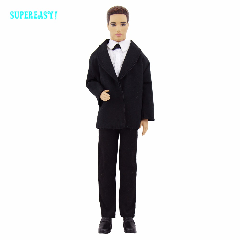 Handmade Tuxedo Business Men's Wear Fashion Modern Formal Suit Black Coat White Shirt Clothes For Barbie Ken Doll Accessories To jakcom r3 smart ring new product of rhinestones decorations as disco duro interno sata external hdd tcxo 25mhz