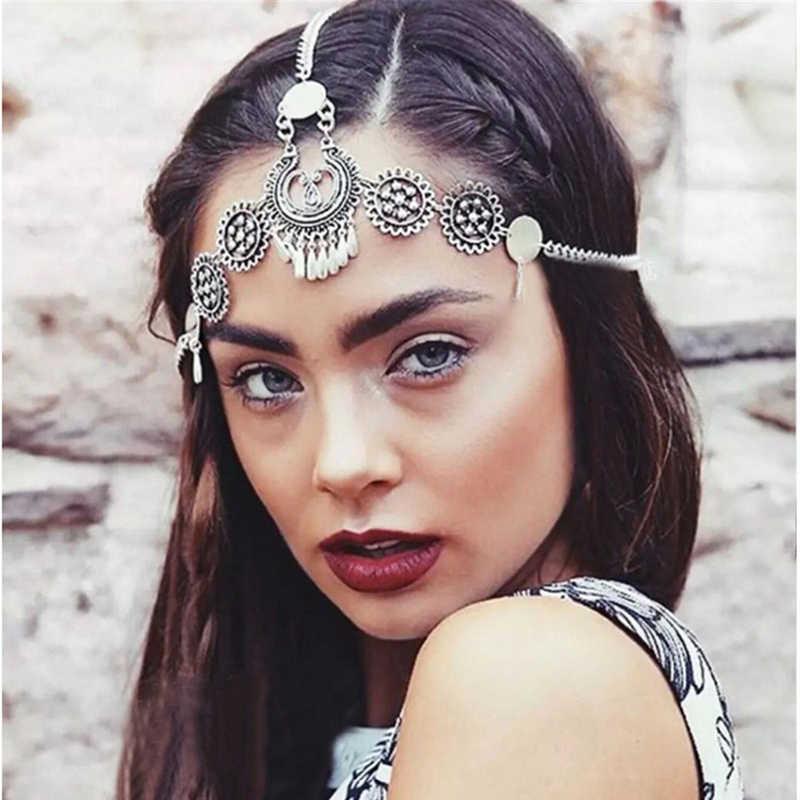 Plata Vintage borla joyería para el cabello Metal banda para el cabello de monedas punk largo cabeza cadena pieza tocado para la frente para las mujeres niñas Accesorios