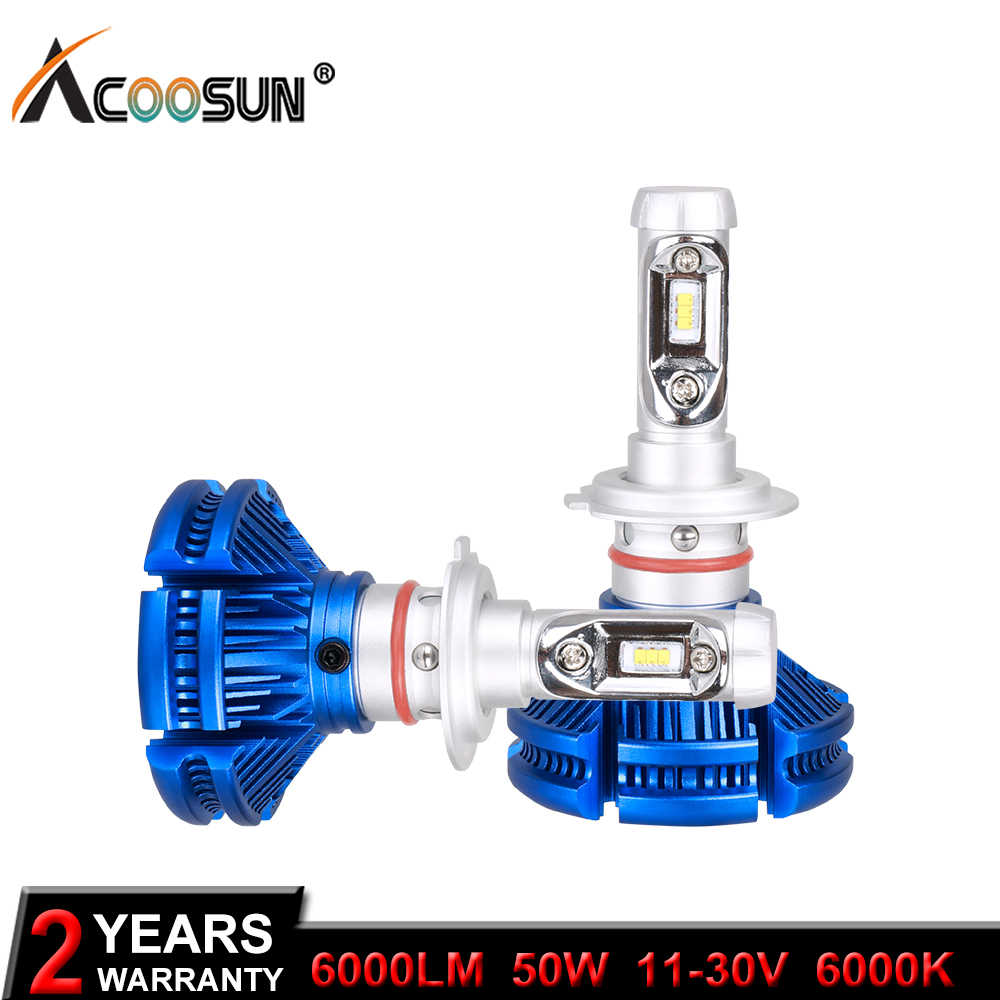 AcooSun H4 H7 H11 H1 ZES LED Auto Bulbs 50W 12000LM/Set 9005/HB3 9006/HB4 H3 6000Lm Car Headlight Fog Lights White 6000K 12V 24V