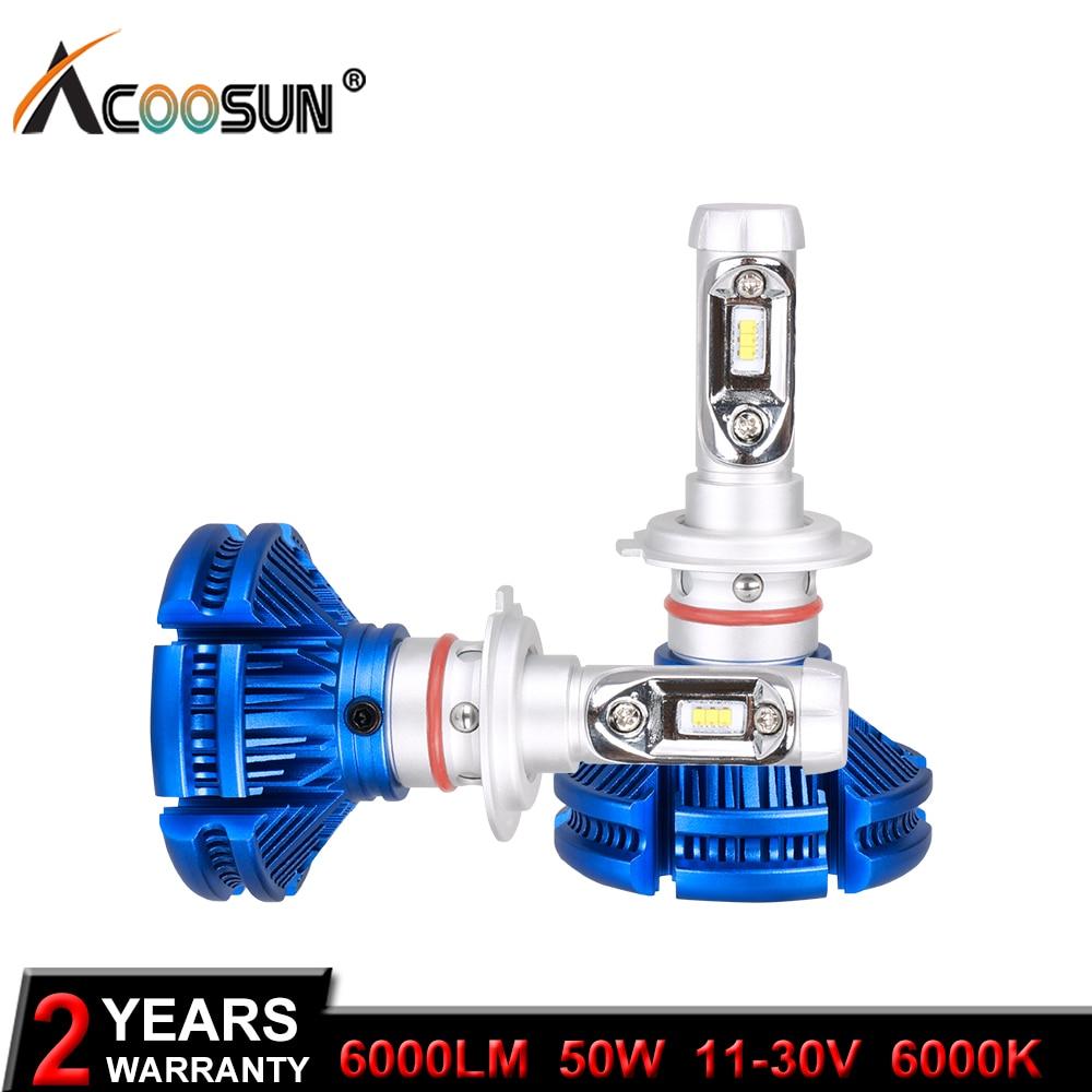 AcooSun H4 H7 H11 H1 ZES LED Auto Bulbs 50W 12000LM/Set 9005/HB3 9006/HB4 H3 6000Lm Car Headlight Fog Lights White 6000K 12V 24V