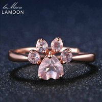 LAMOON Animal Paw 5mm 925 Sterling Silver Ring Romantic 100 Natural Pink Rose Quartz Ring Fine