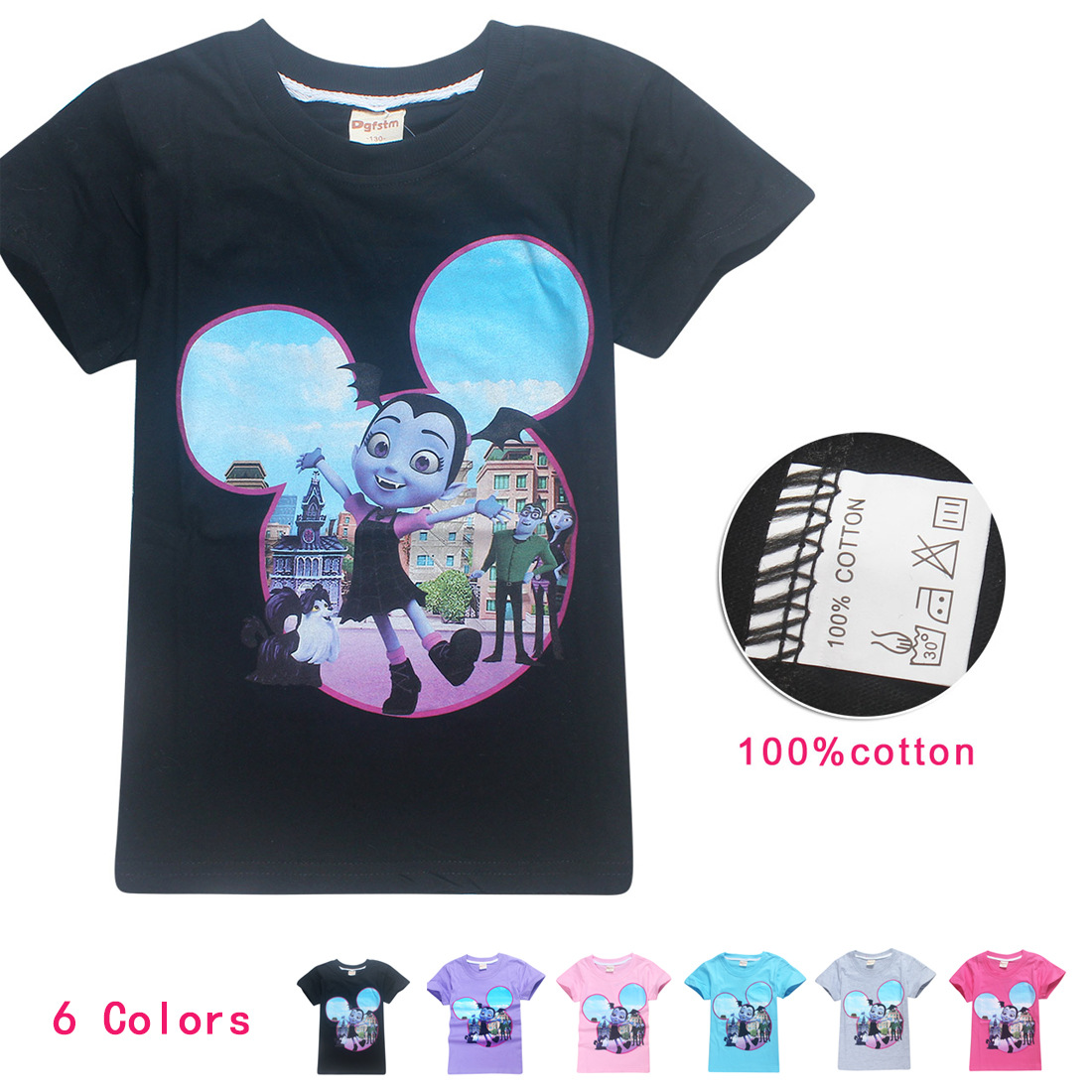 2018 summer Vampirina girls T-shirt boys and girls Bobo Choses cartoon moana trolls cute tops tees cotton Printed T - shirt