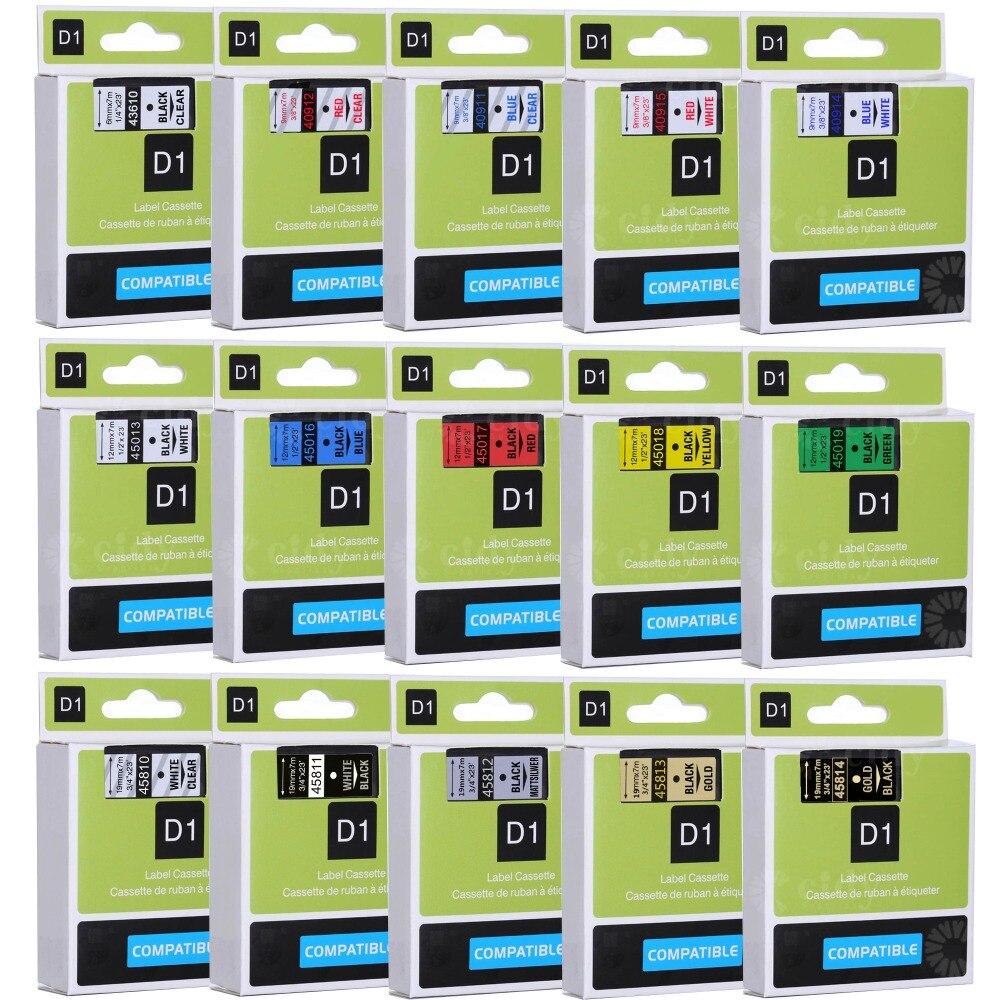 CIDY Multicolor 45013 40913 43613 45018 40918 45016 Kompatibel 12MM Dymo D1 Label Bänder für Dymo LM160 LM280 Dymo PNP