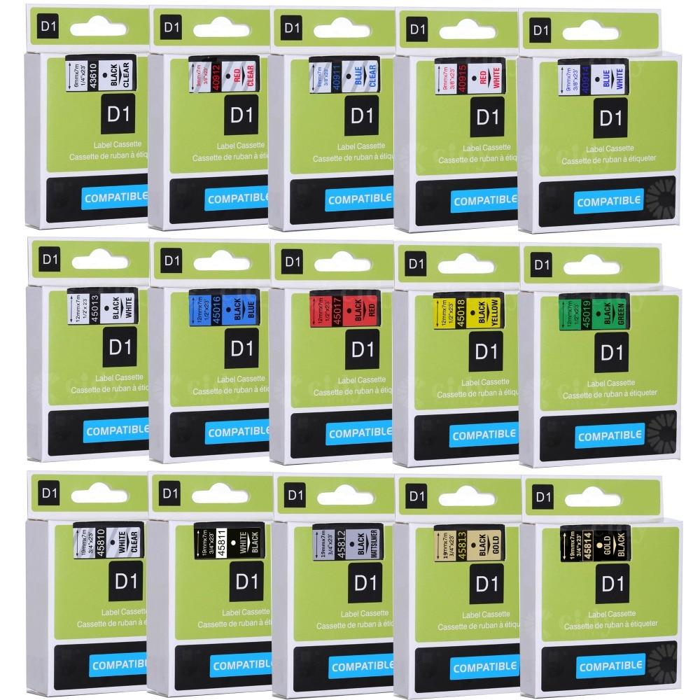 Cidy multicolorido 45013 40913 43613 45018 40918 45016 compatível 12mm dymo d1 fitas de etiquetas para dymo lm160 lm280 dymo pnp