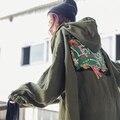 Зимнее Пальто Женщин 2016 Boyfriend Стиль Негабаритных Мода Письмо Вышивка Лоскутное С Капюшоном С Длинным Пальто casaco feminino