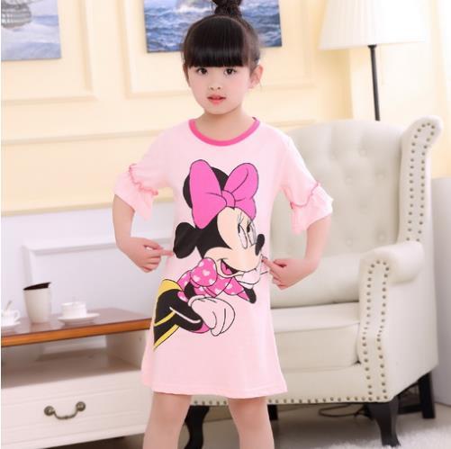 New 2018 Summer Princess Cartoon Dresses Kids Sleep Dress Cotton Children Nightgowns Lovely Girl Gift Girls Nightdress KH2