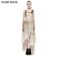 Punk Rave Asymmetrical Hem Lace Matching Fashion Women Lolita Gothic Steampunk Dress Q291