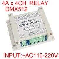 Оптовая продажа 1 шт. AC110-220V 4CH контроллер декодер RGB Светодиодные полосы света DMX-RELAY-4 канала dmx512 3 P реле для использования со светодиодной под...
