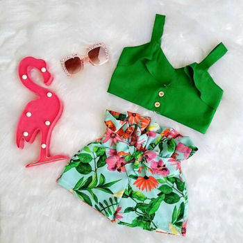 Emmababy Brand Toddler Baby Girls Floral Vest Falbala Sleeveless Off Shoulder Crop Tops Floral Printed Shorts Outfits Clothes 3