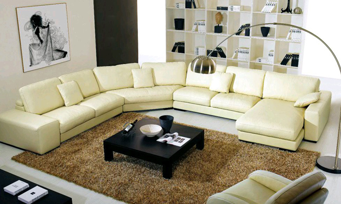Modern Sofa Yellow Leather