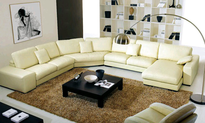 Free Shipping 2013 Latest Modern Design Large L Shaped Genuine Leather  Sectional Corner Modern Sofa Yellow