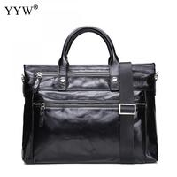 Male Motorcycle Bag Portfolio Men S Executive Briefcase Laptop Bags For Men Black PU Leather Handbag