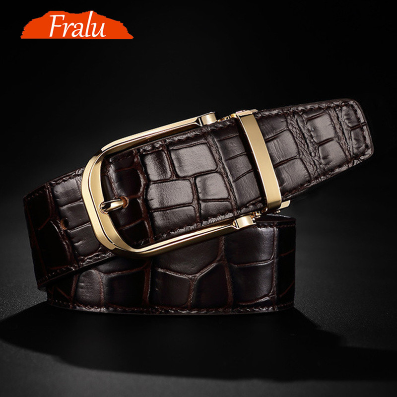 FRALU 2019 High quality men's genuine leather belt designer belts men luxury  male belts for men fashion vintage pin buckle for