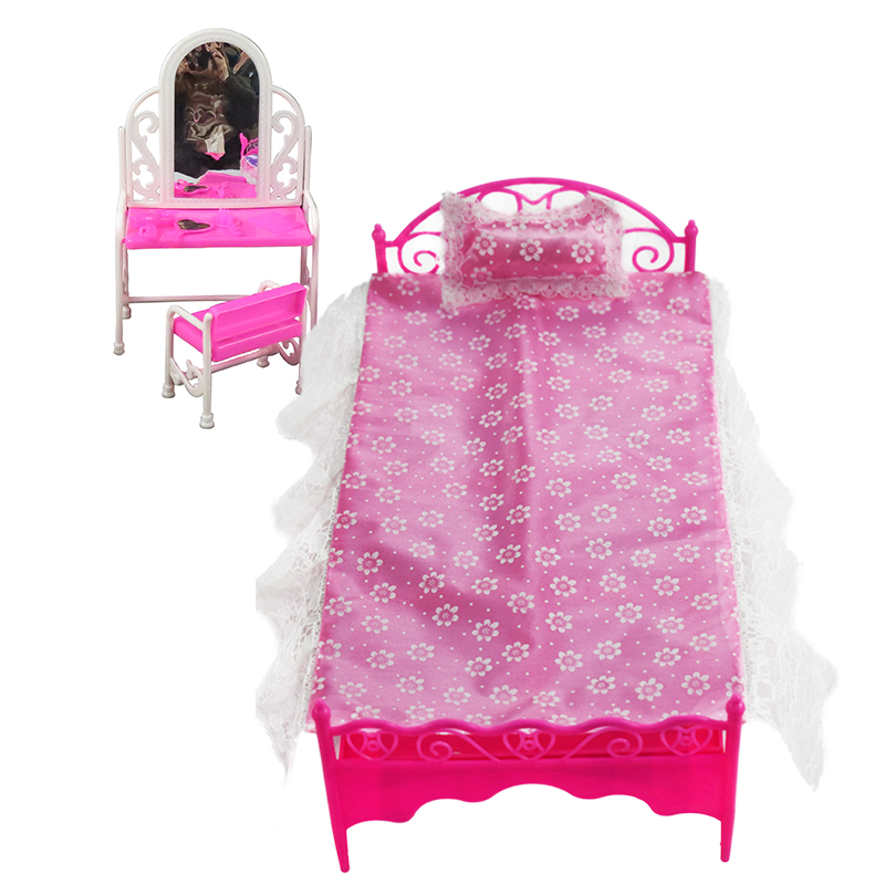 2 Items Barbie Doll Furniture(Pureple Bed + Dressing Table ) Doll Accessories For Barbie Dolls Girl Gift Kid Play House Toys christmas gift present play toy doll house dining room furniture for 1 6 bjd simba lica monster high for barbie dolls house