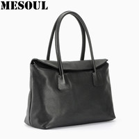 Women Leather Handbag Fashion Design Black Lady Bag Genuine Leather Womens Shoulder Bag Satchel Cross Body
