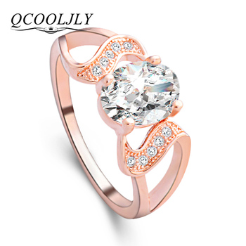 QCOOLJLY Luxury Female Gold Silver Color Ring Bridal High Quality White Crystal Jewelry Vintage Wedding Rings  Girlfriend Gift