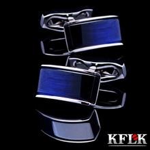 hot deal buy kflk jewelry 2014 new shirt cufflinks for mens brand cuff buttons cuff links blue gemelos high quality abotoaduras free shipping