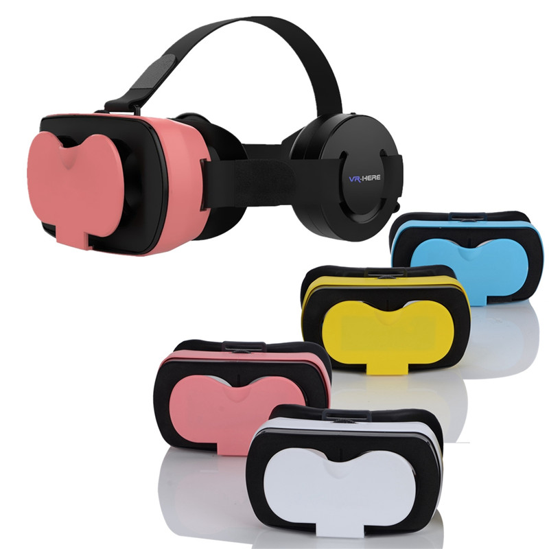 VR with Mobile Headphones Virtual Reality Lenses Visore 3D Eye Glasses 3D Viewer For iphone 7/8 LG Sony Watch Movie Game VR Case