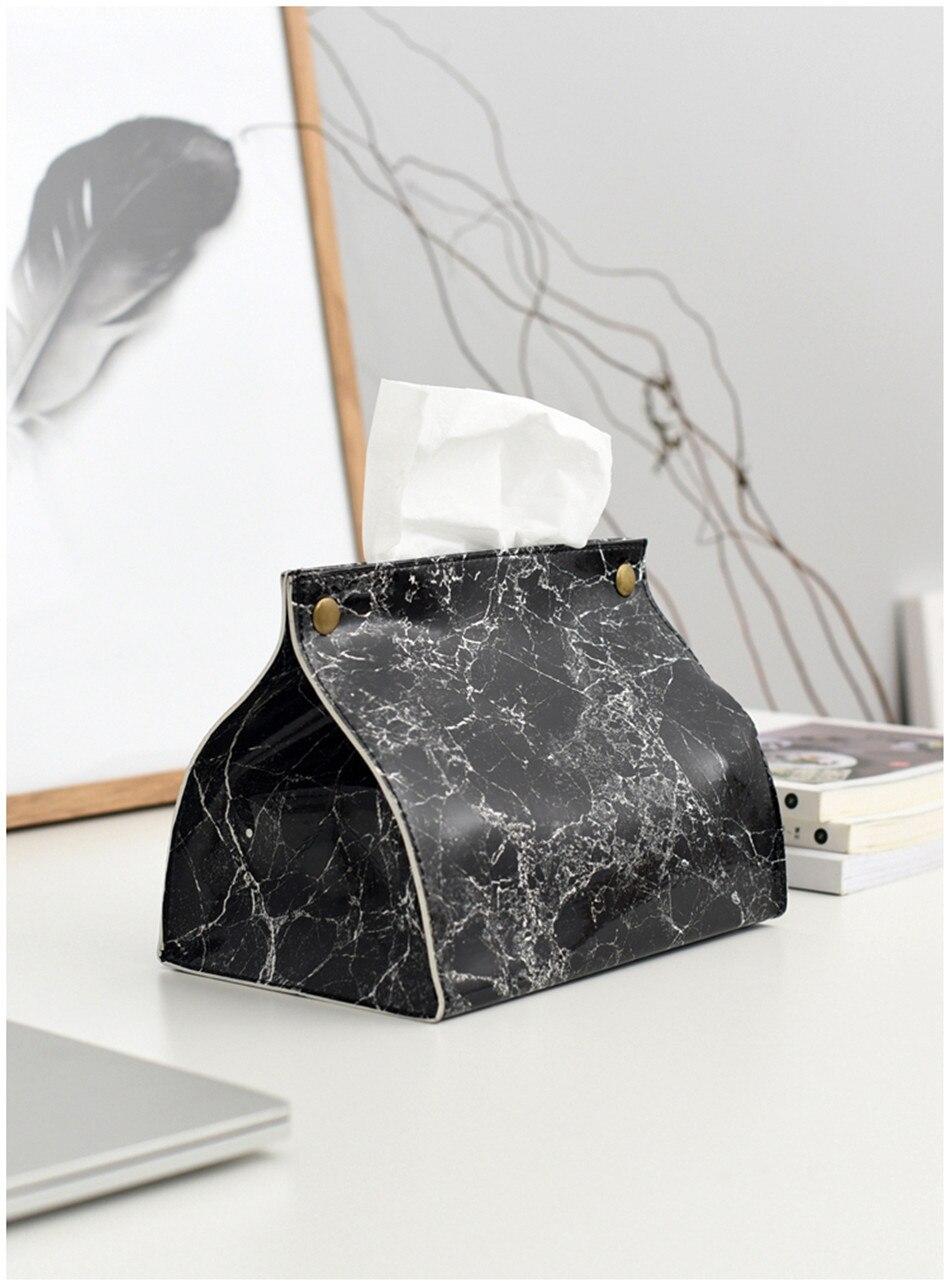 Шикарный чехол для салфеток, контейнер из искусственной кожи с мраморным узором, для дома, автомобиля, полотенца, салфетки, бумаги, сумка, держатель, чехол, мешочек, украшение стола