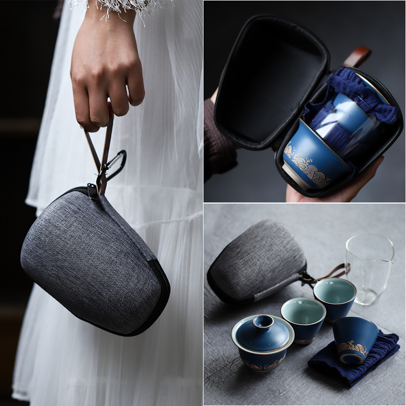 TANGPIN Blue Ceramic Teapot Gaiwan With 3 Cups Gaiwan Tea Sets Portable Travel Tea Sets Drinkware