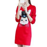 Size M 5XL Winter Dress Plus Velvet Dresses Women O Neck Long Sleeve Pullovers Clothes Mini