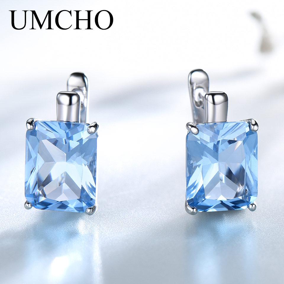 UMCHO 8.0ct Topázio Sky Blue Gemstone Jóias de Luxo Sólido 925 Sterling Silver Clip Sobre Brincos Para As Mulheres Presente de Aniversário de Moda