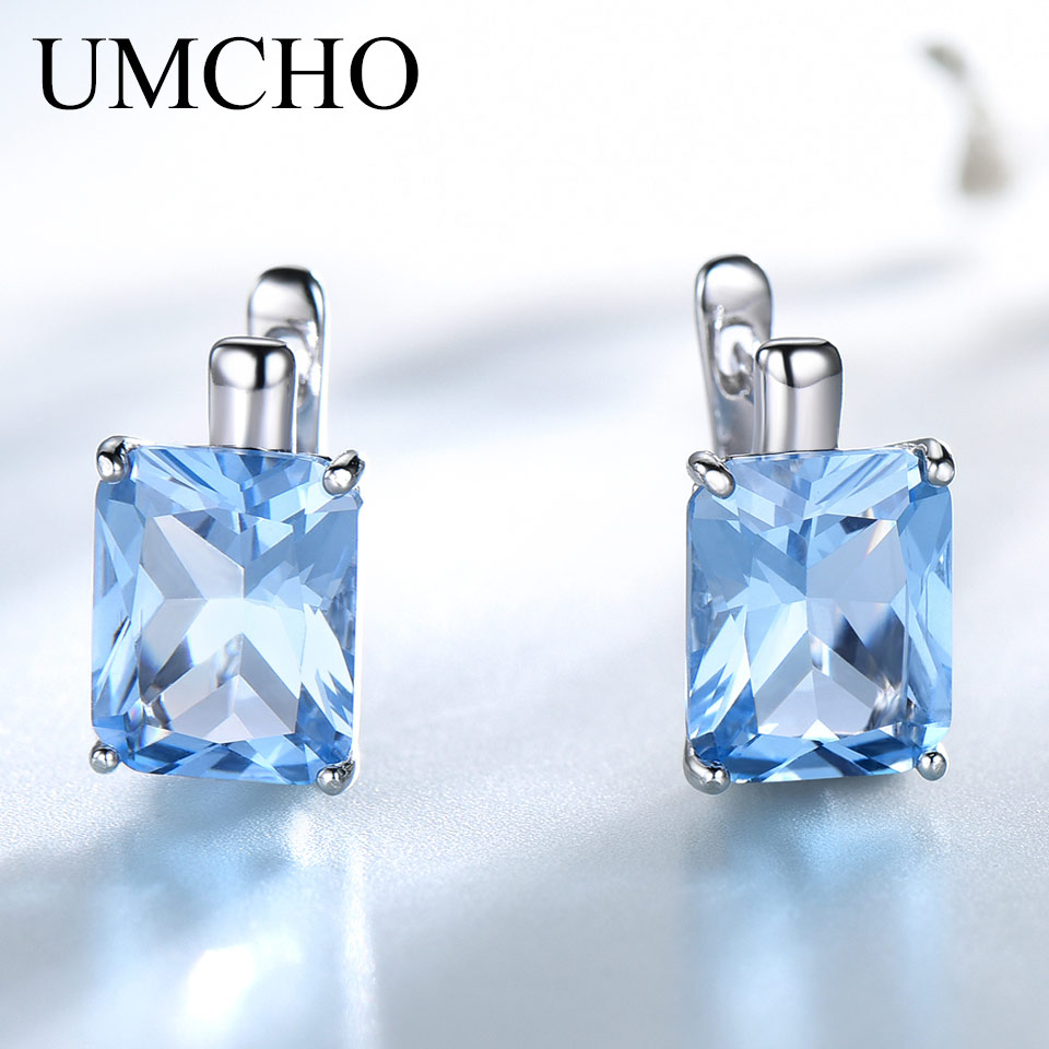 UMCHO Luxury 8.0ct Sky Blue Topaz Gemstone Jewelry Solid 925 Sterling Silver Clip On Earrings For Women  Birthday Gift Fashion