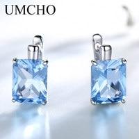 3ab1699194a9 ... pendientes fina moda para febrero. US  34.41US  67.48. UMCHO Luxury 8  0ct Sky Blue Topaz Gemstone Jewelry Solid 925 Sterling Silver Clip On  Earrings
