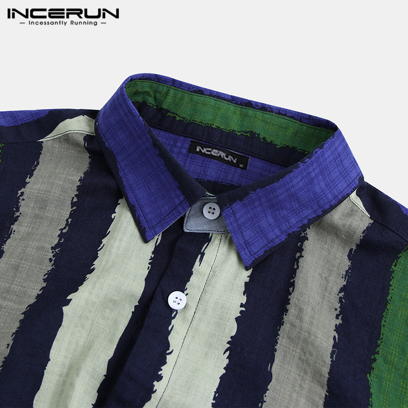 INCERUN Men Shirt Striped Button Loose Pockets Retro Short Sleeve Vintage Blouse Stylish Casual Brand Shirts Men 2020 Streetwear