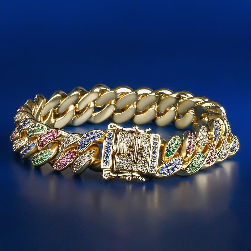 12mm multicolore glacé lien cubain Bracelet micro-incrusté zircon bracelet Europe et amérique Hip-hop