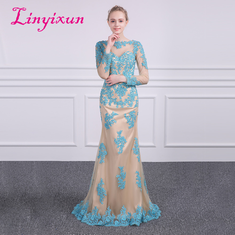 Linyixun Dubai Long Sleeve Scoop Mermaid Prom Dresses 2018 Formal Evening Gowns China Robe de Soiree Longue Custom Vestido Longo