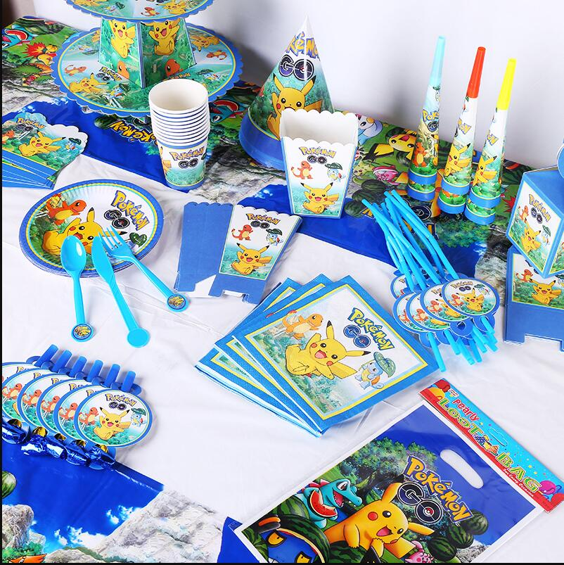 Pokemon Go Theme Birthday Party Decorations Kids  Pokemon Party Supplies Tableware Set Paper Plates Baby Shower Favor