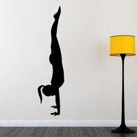 Girl Yoga Pose Pilates Wall Sticker Gym Sport Wall Decals Art Murals Home Decor Living Room