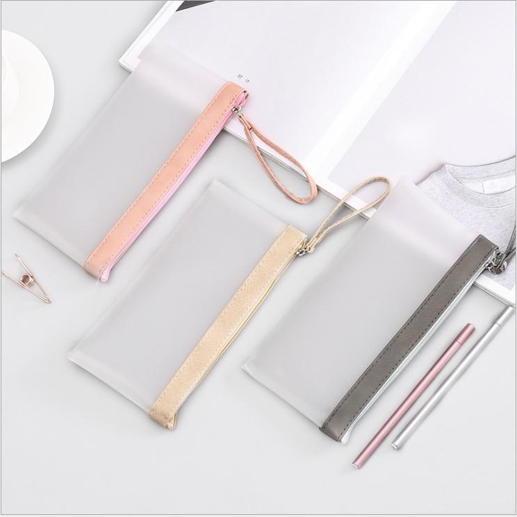 Transparent matte pencil case simple creative student school office stationery Storage bag