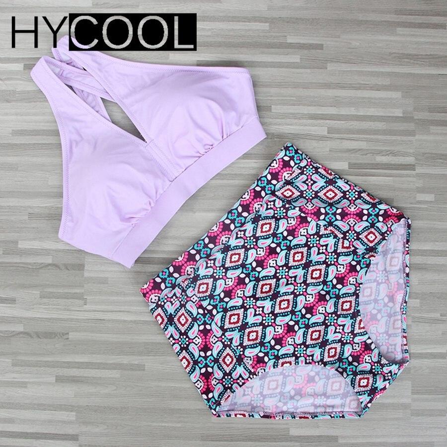 HYCOOL Plus Size Swimwear Women Swimsuit 2017 New Bikinis High Waist Bathing Suits Print Retro Floral Bikini Set Swim Wear 5XL bohemian high waist floral print skirt for women