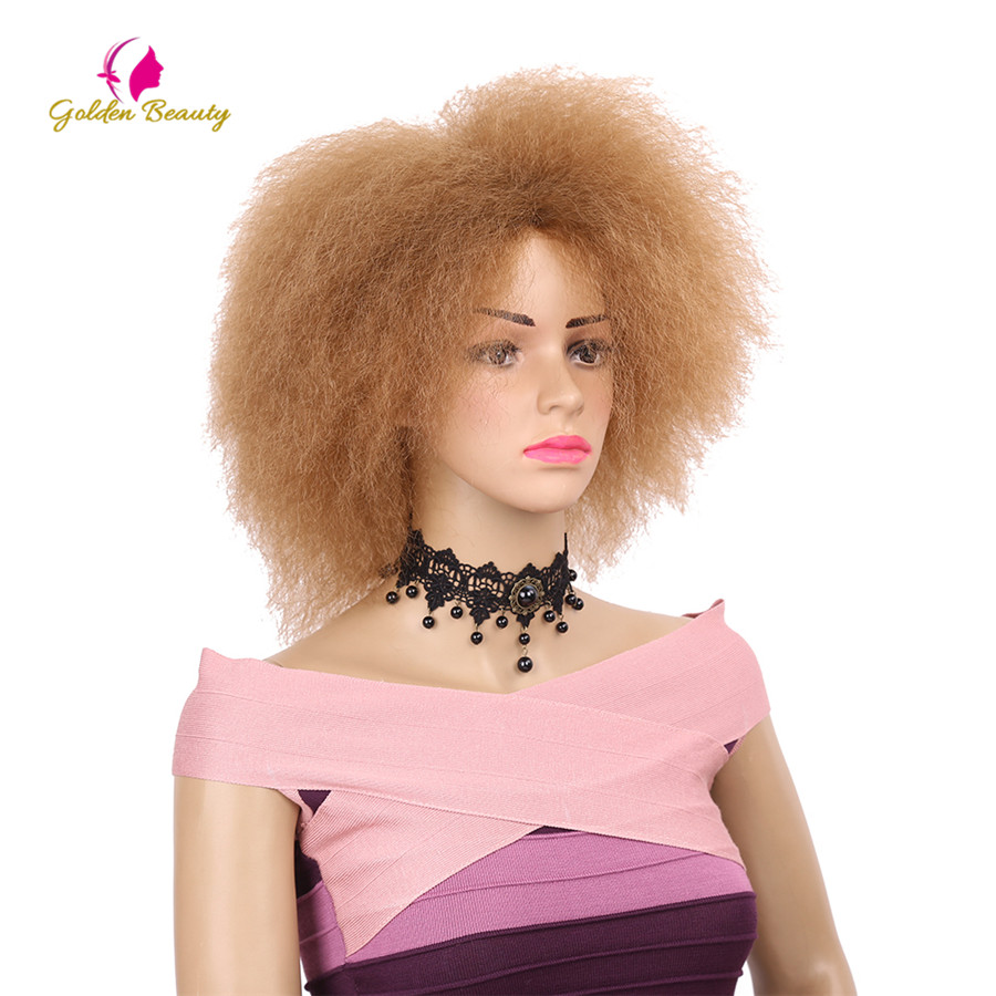 Golden Beauty Kinky Curly Short Afro Wigs 6inch Synthetic Wig For Women 90g