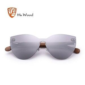 Image 4 - HU WOOD nuevas gafas de sol de moda hombres mujeres mariposa gafas de sol marco de madera Natural sin montura para conducir, para pescar UV400 GR8025