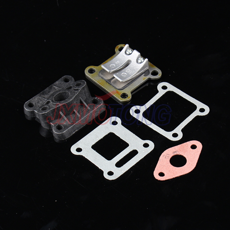 Reed Valve + Inlet Intake Manifold + Gaskets for 47cc 49cc Mini Moto Dirt Pocket Bike ATV Quad Minimoto Go Kart Scooter throttle hand grips brake levers throttle housing set for goped gas scooter 43cc 47cc 49cc minimoto bicycle parts