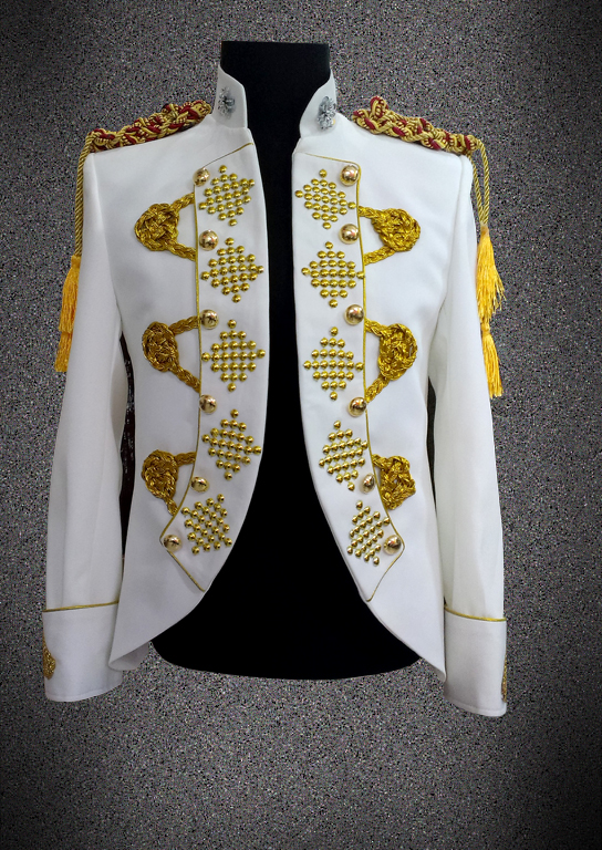 Men Gold Embroidery Crystal Jacket White Red Black Court Blazers Fashion Prom Singer Host Stage Clothing Festival Wedding Coat