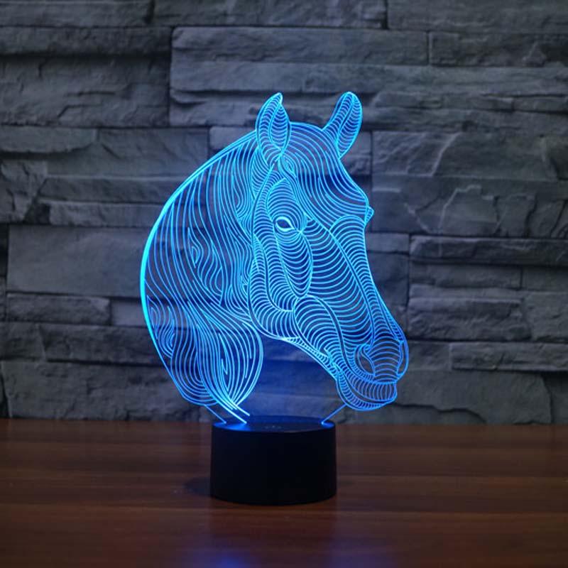 USB-nyhetsgåvor 7 färger som byter djurhäst Led nattlampor 3D LED Bordbordslampa som hembygning